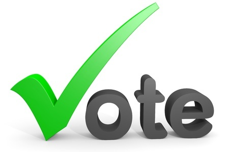 word vote with green checkmark