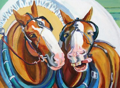 Two brown horses with white faces pulling a covered wagon.
