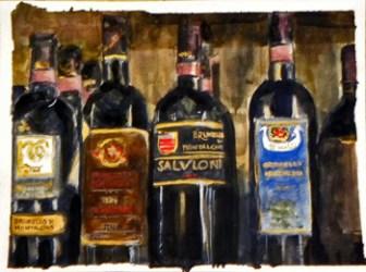Various bottles of liquors.