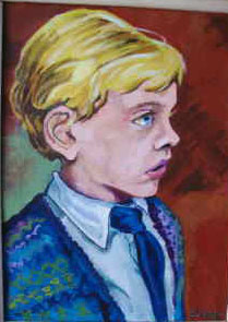 Little boy with blond hair wearing a blue sweater.
