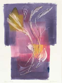 Abstract image of grass in white, pink, and purple.