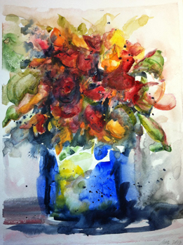 Colorful flowers in blue vase.