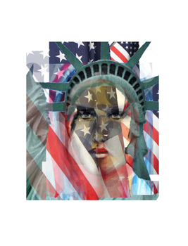 Abstract of the Statue of Liberty and the American flag.