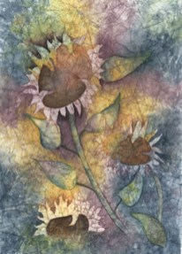 Abstract of sunflowers in white on multicolored background.