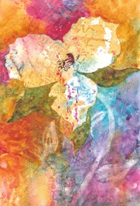 Abstract of large white flower on multicolored background.