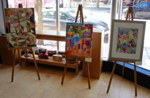 Paintings on easels.