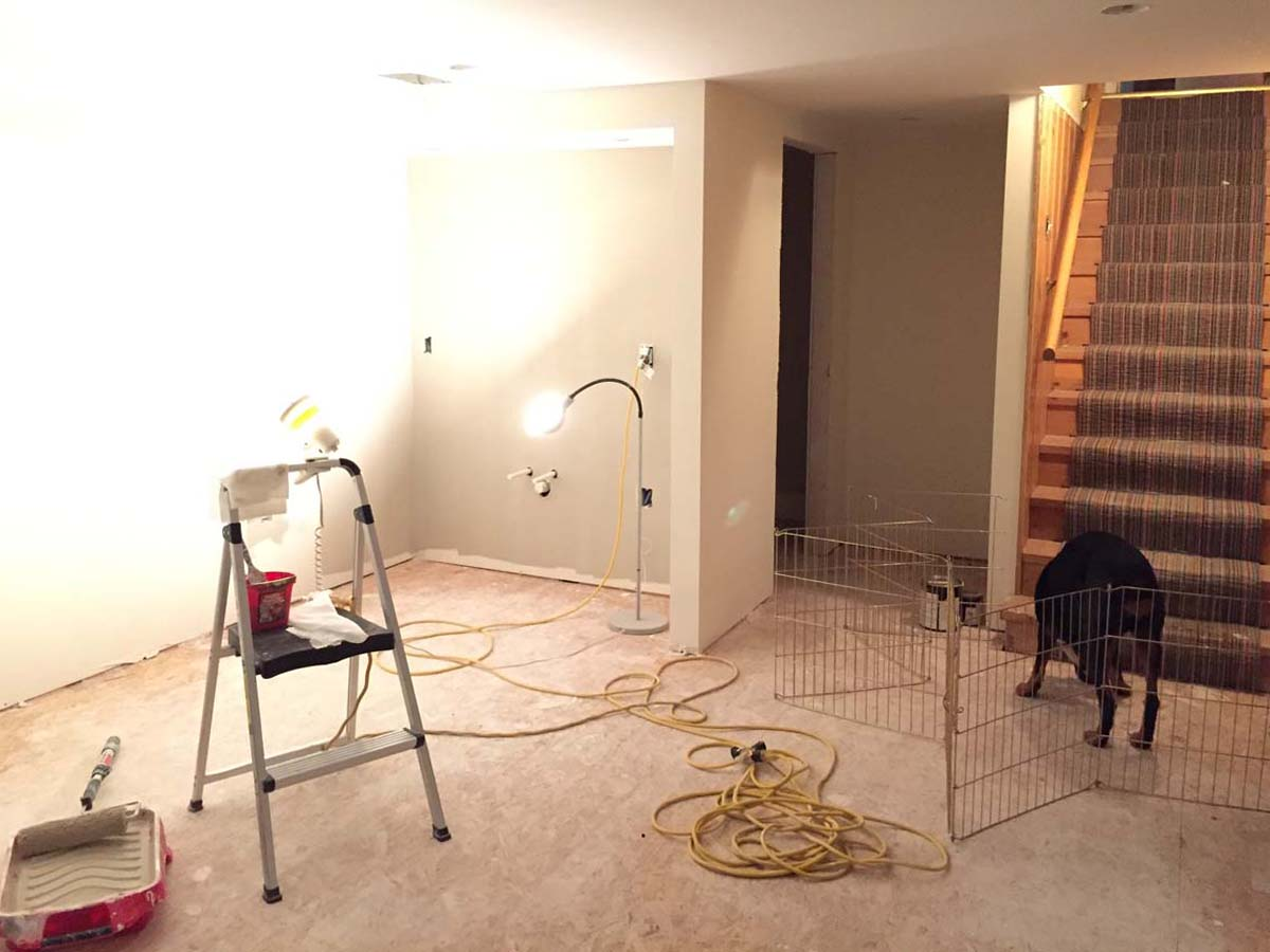 Progress: painting the basement walls and ceiling