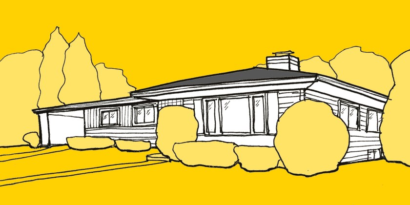 sketch of a midcentury ranch