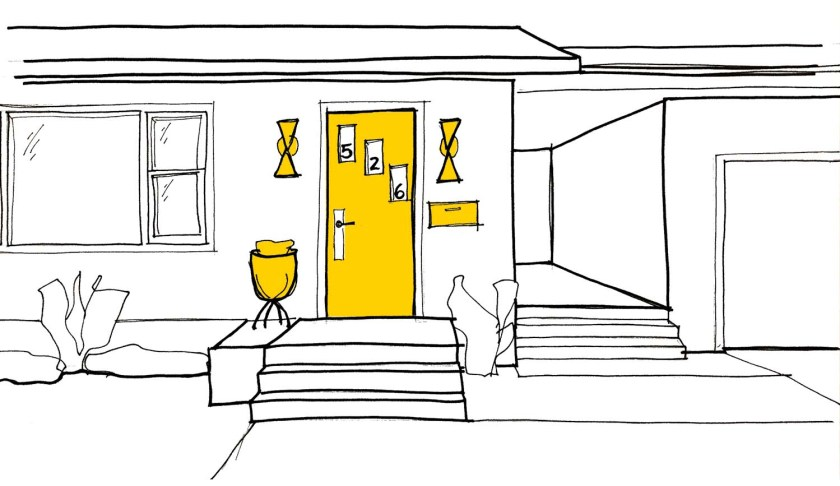 Sketch of Level 1: Buy in. To start off your mid-century front door, focus on things you can add to the area around the door. Colorful mail box, door paint, house numbers or a planter will help it really pop!