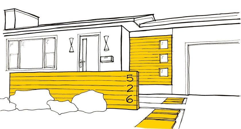 Sketch of Level 2: Power up. For a medium sized Mid-century front door intervention improve the pathway, highlight the door area with fence or bench and make a more generous front stoop or portico!