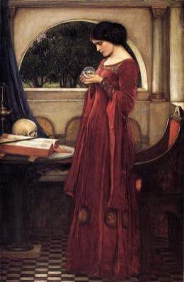 red art_preraphaelite woman in a red dress holding a glass sphere