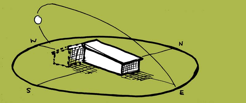 sketch of sun path diagram over a house addition