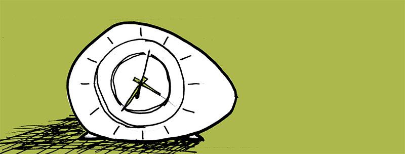 sketch of a mid-century alarm clock
