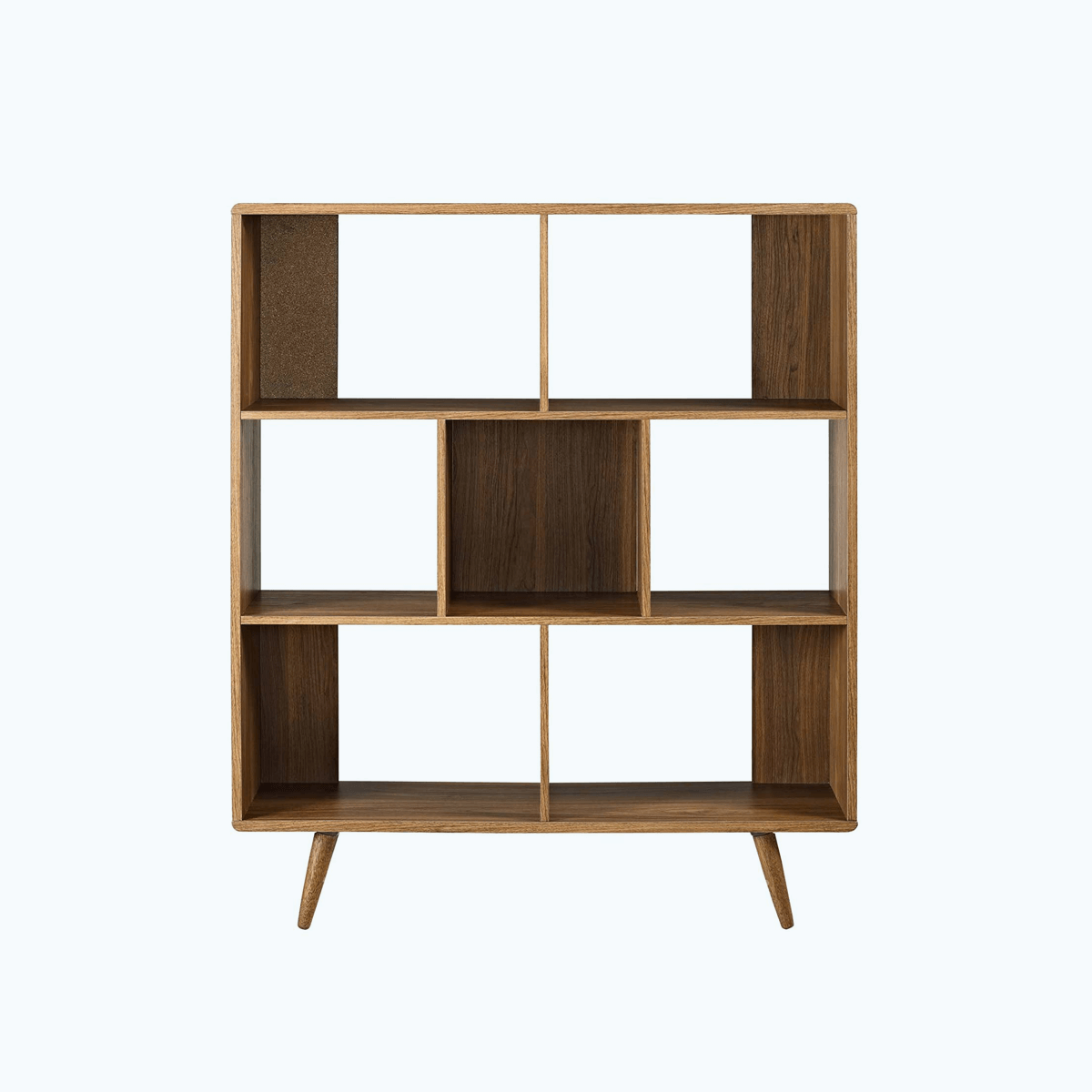 Offset Wood Bookcase Walnut Mid Century Modern Decor Midmod