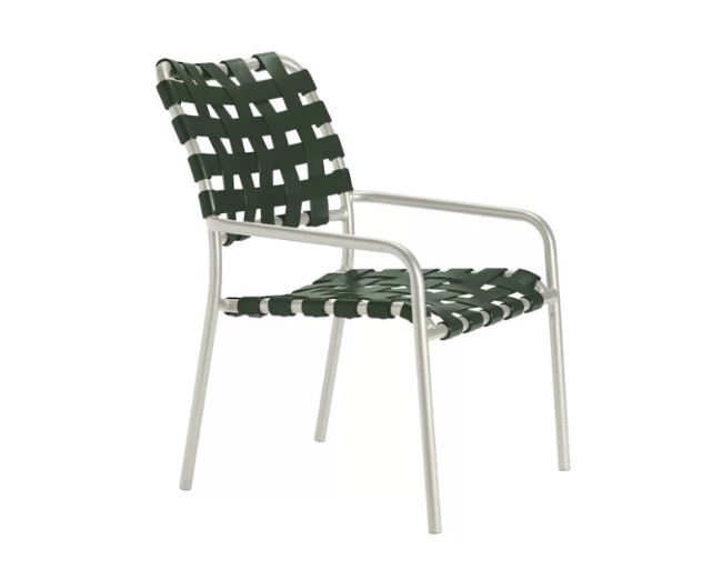 woven vinyl stacking patio chair mid