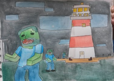 """Zombies in Plymouth Cubed"", a watercolour I did in appreciation of the Plymouth Cubed Minecraft project by Neil Argue (Summer 2016)."