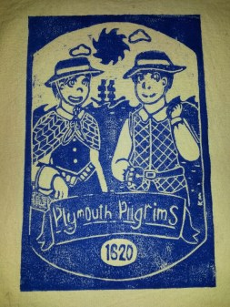 "I designed and cut this ""Plymouth Pilgrims"" linocut then printed it on cotton tote bags (Printed Jan 2017, linocut Nov 2016)."