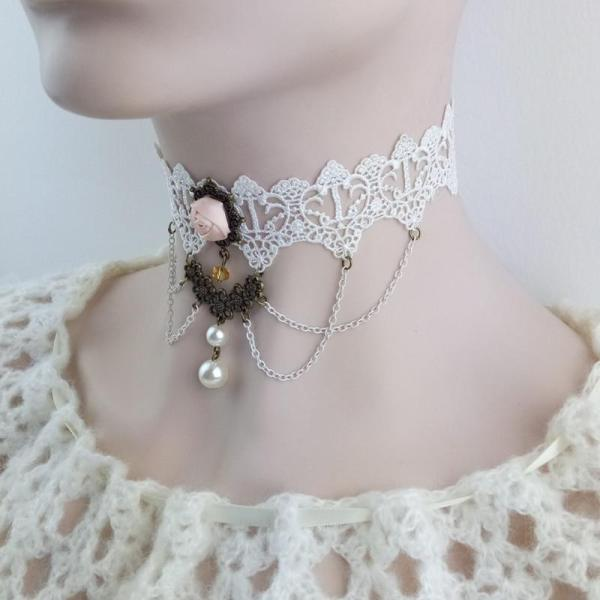YiYaoFa-Vintage-White-Lace-Choker-Necklace-False-Collar-Statement-Necklace-for-Women-Accessories-Gothic-Lady-Party