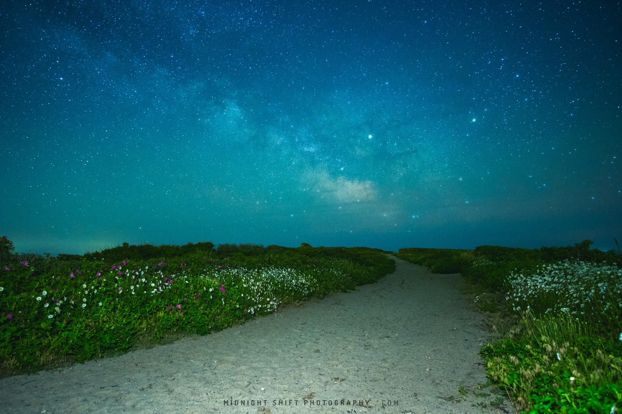 Milky Way Galaxy over Gooseberry Island in Westport, Massachusetts