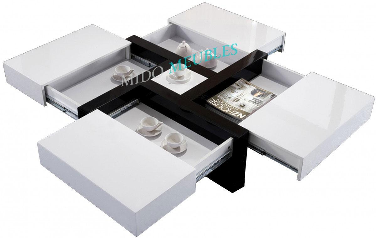 Table Basse Carre Avec 4 Compartiments