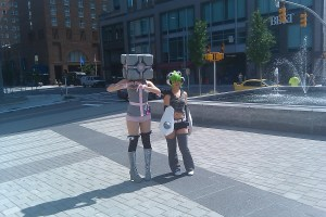Weighted Companion Cube and  Xbox-tan at Animazement 13