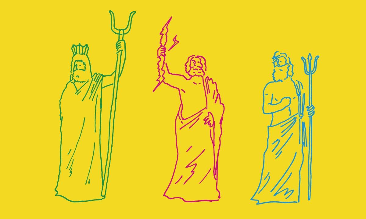 黄色い背景に3人の神をイメージした線画