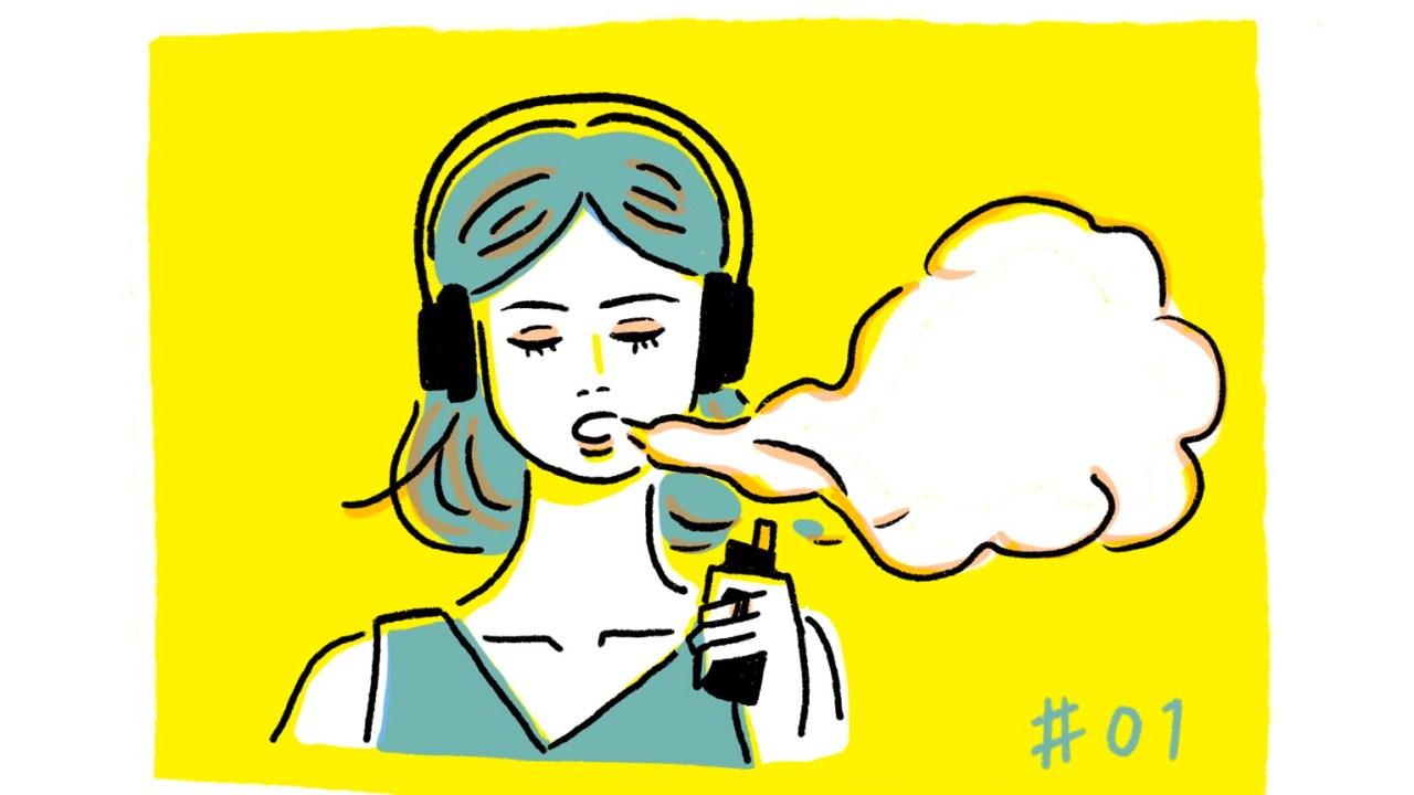 音楽を聴きながらvapeを吸う女性