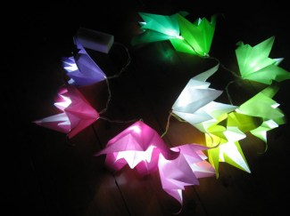 Origami lilies fairy lights