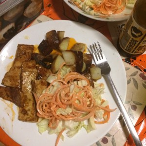 Roast potatoes tahini coleslaw sweet and spicy seitan