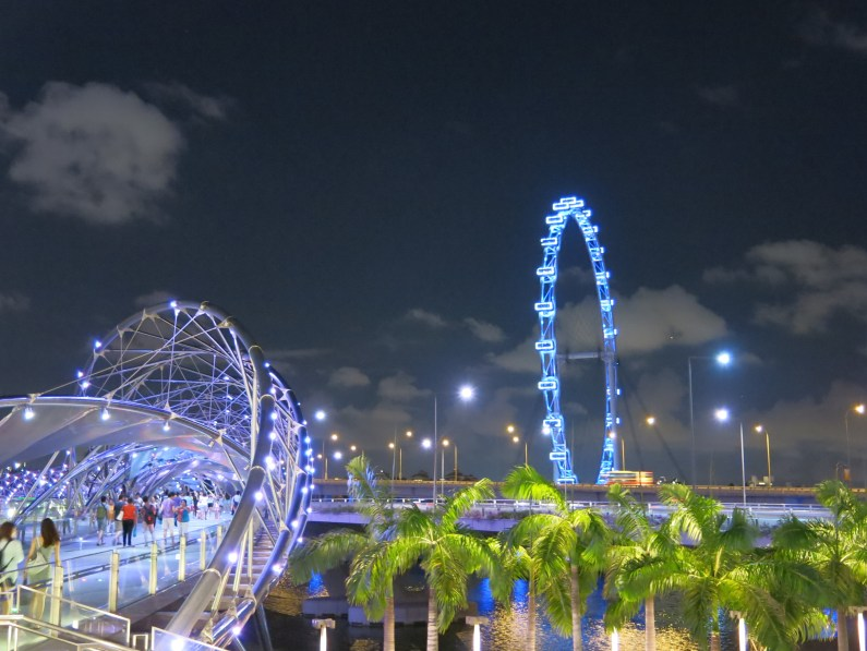 bright lights from the Singapore Flyer and the Helix Bridge