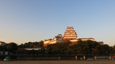 the majestic Himeji Castle painted gold by the sun!