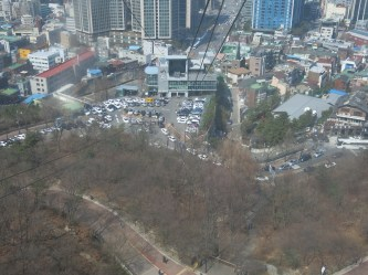 There are two ways to climb to Seoul Tower--by stairs or by car. We chose the cable car ride^^ (roundtrip ticket costs 10,000 won)