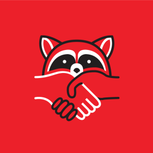 a raccoon face peaks over two clasped hands on a red background