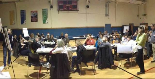 Residents helped make plans for playgrounds at a recent brainstorming session. Photo courtesy Roanoke Park Conservancy.