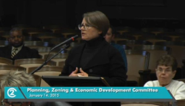 Tiffany Moor was among those aaddressing the city council about the sign ordinance yesterday.