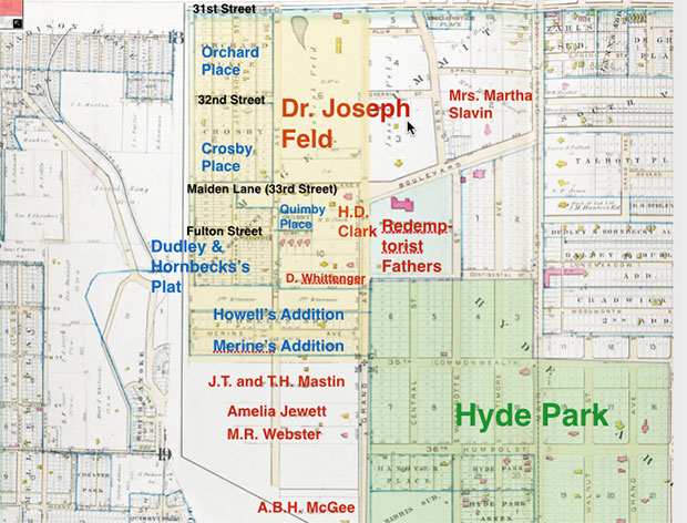 This 1891 map of Midtown shows the large tract owned by Dr. Joseph Feld, which was first a private park and later part of the Penn Valley Park.