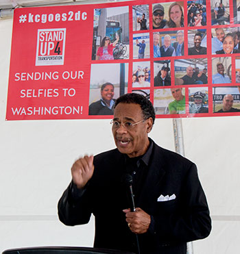 Congressman Emanuel Cleaver urged Kansas Citians to contact their elected officlals in Washington and demand that they take action on a transportation bill.