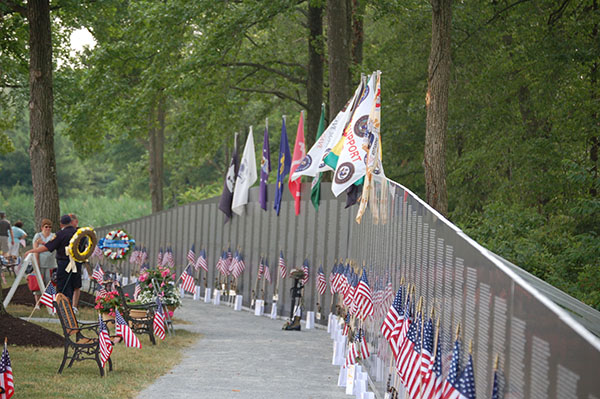 A scale replica of the Vietnam Veterans Memorial Wall incoming to the World War I Museum for Memorial Day.