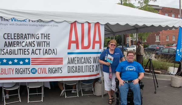 Aaron Nelson and his mother Kristi Nelson were among those marking the 25th anniversary of the ADA at Midtown nonprofit The Whole Person today.
