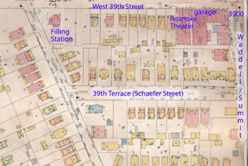 A 1909-1950 Sanborn Fire Insurance map shows businesses at the corner of 39th and Summit and homes along 39th Street, Clark Street and 39th Terrace.