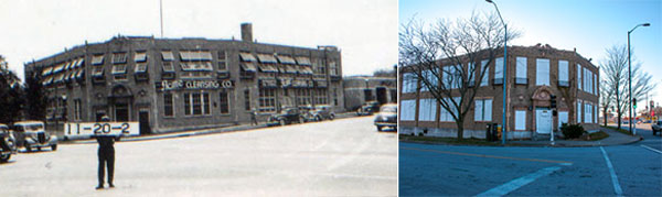 The Acme Cleansing Company in 1940 (left) and the vacant building today (right).
