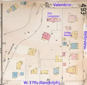 A 1909-1950 Sanborn Fire Insurance map shows the block with its large homes angled along Valentine Road, and another row of stately residences along Belleview. Some of Kansas City's most prominent residents lived in Roanoke during this period.