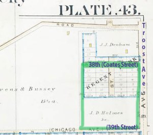 An earlier map of the block from 1891 shows lots had been divided up and laid out in the Regent Park subdivision at the north end of the block, but only a few homes had been built. Source: A complete Set of Surveys and Plats of Properties of Kansas City, MO. 1891.
