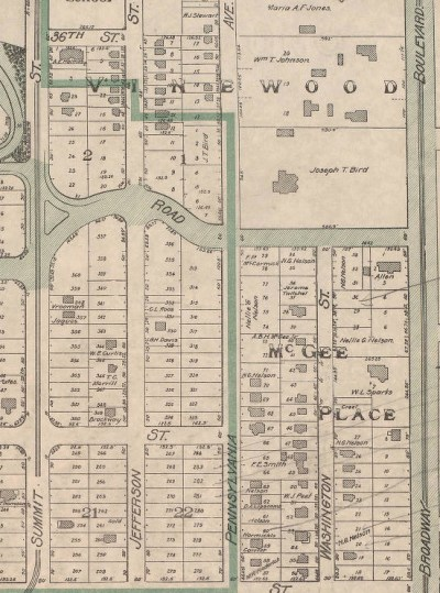 An early plat map of the Roanoke subdivision shows some of the original owners of the Pennsylvania Avenue property. A.B.H. McGee. Jr. and Nellie G. Nelson (daughter of A.B.H. McGee) owned several large tracts.