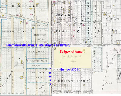 The Sedgewick property in 1891, when other land around their had begun to be platted.