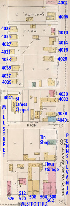This early map (1895-1907) shows the block before Manor Bakery was built in 1926. The St. James Chapel, a black Baptist Church, stood at 4041 Mill. It moved to West 43rd Street in 1939 as the bakery expanded.