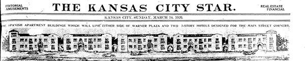 """When it was built in 1929, Warner Plaza was advertised as an """"apartment city"""" stretching from Main Street to Warwick Boulevard south of Linwood. Built of the original site of the home of Senator William Warner, Warner Plaza included two seven-story structures on Main Street near 33rd and ten apartments buildings."""