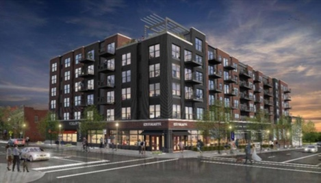 A rendering of the proposed redevelopment of Westport Road and Broadway, including a six-story apartment and commercial building. Note the change in scale between the new building and the traditional two-story Westport building on the bottom right hand side of the picture.