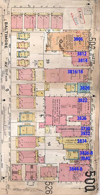 This 1909-1950 Sanborn Fire Insurance map shows the Dunn home at 3820 with the house at the rear of the property and the office space on Main.