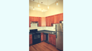 Updated kitchen in a downtown campus apartment